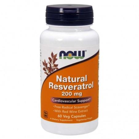 Suplement prozdrowotny NOW Foods Natural Resveratrol 200mg 60 vkaps