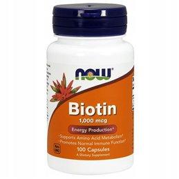 Witaminy NOW Foods Biotin 1000mcg 100 kaps